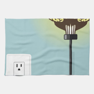 Glowing plugged in brain kitchen towels