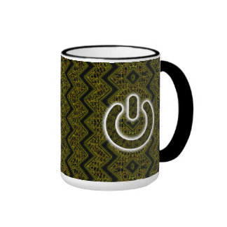 Glowing Power Symbol Over Bronze Chevron Mesh Ringer Mug