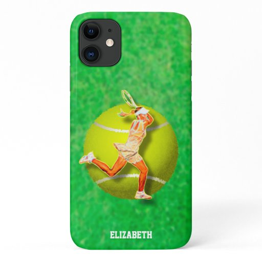Glowing Psychedelic Tennis Player With Tennis Ball iPhone 11 Case