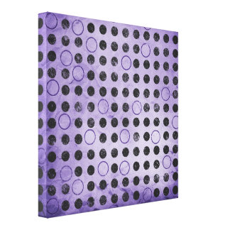 GLOWING PURPLE BLACK CIRCLES POLKADOTS GRUNGE POLK CANVAS PRINT