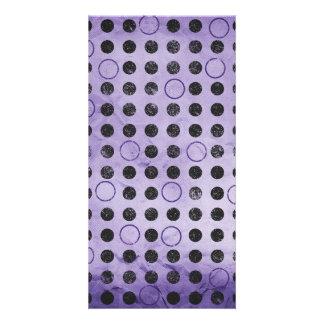 GLOWING PURPLE BLACK CIRCLES POLKADOTS GRUNGE POLK CARD