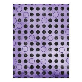 GLOWING PURPLE BLACK CIRCLES POLKADOTS GRUNGE POLK POSTCARD