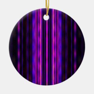 Glowing purple blurred stripes ceramic ornament