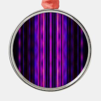 Glowing purple blurred stripes metal ornament