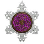 Glowing purple celtic knot on leather digital art snowflake pewter christmas ornament
