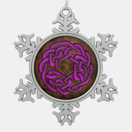 Glowing purple celtic knot on leather digital art
