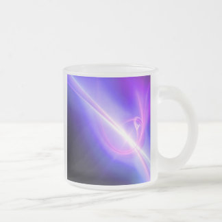 Glowing Purple Fractal Abstract Art Frosted Glass Coffee Mug