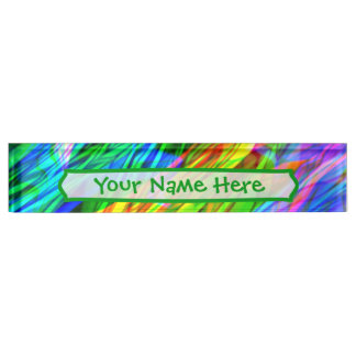 Glowing Rainbow Abstract Name Plate