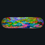 """Glowing Rainbow Abstract Skateboard Deck<br><div class=""""desc"""">Featuring a stylish modern design of bright vivid colors. The psychedelic abstract pattern is designed with irregular streaky lines of color. The rainbow hues include red, orange, yellow, green, blue, indigo and violet. This comtemporary design adds a vibrant fluorescent like glow, in shades of neon green, hot pink and electric...</div>"""