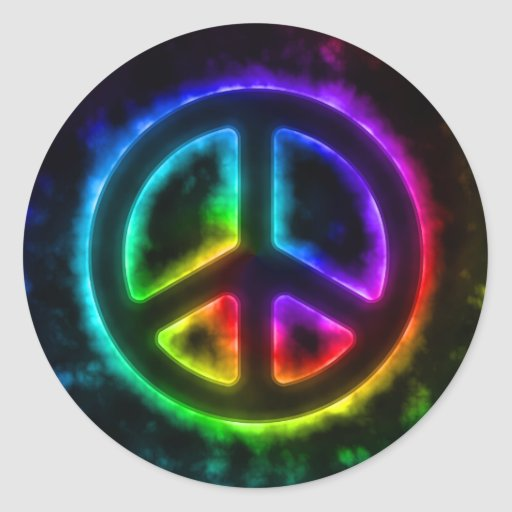 Glowing Rainbow Peace Sign Sticker
