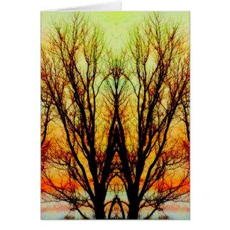 Glowing Rainbow Tree Abstract Art Photo Blank In Card