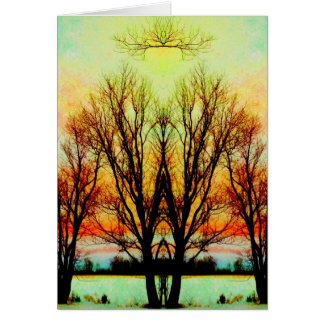Glowing Rainbow Tree Altar Art Photo Blank Inside Card