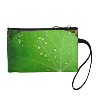 Glowing Raindrops on nasturtium leaf Change Purse