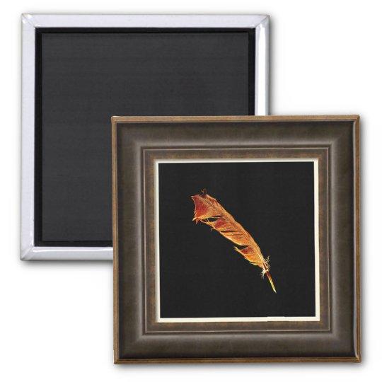 Glowing Raven Feather Bird-lover Framed Art Effect Magnet