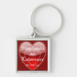""" 'Glowing' Red Heart Trio"" w/ Couple's Names Keychain"