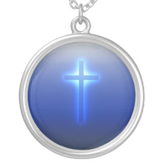 Glowing Religious Cross Silver Plated Necklace