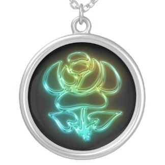 Glowing Rose Round Pendant Necklace