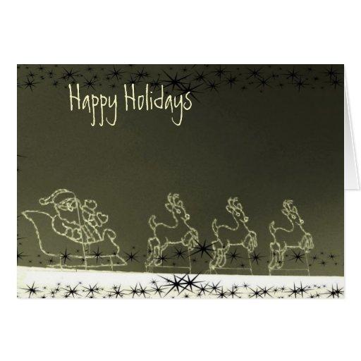 Glowing Santa & Reindeer Greeting Card
