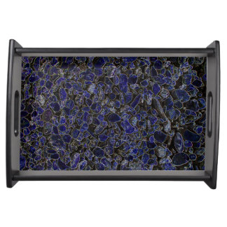 Glowing Sapphire Blue Stones Serving Tray