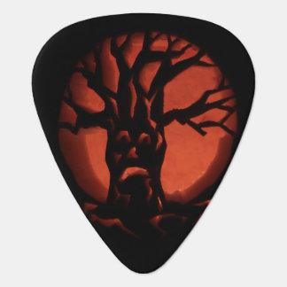 Glowing Scared Dead Tree Halloween Pumpkin Guitar Pick