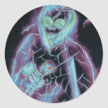 glowing scary skeleton round stickers