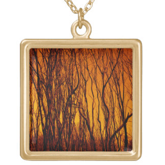 Glowing Scorched Tree Branches Australian Outback Gold Plated Necklace