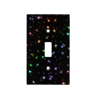 Glowing Shiny Rainbow Stars In Space Light Switch Cover