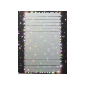 Glowing Shiny Rainbow Stars In Space Lined Notepad