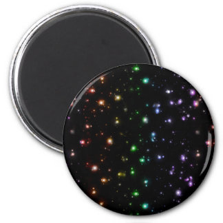 Glowing Shiny Rainbow Stars In Space Refrigerator Magnets