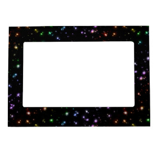 Glowing Shiny Rainbow Stars In Space Magnetic Frame