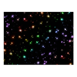 Glowing Shiny Rainbow Stars In Space Postcards
