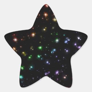 Glowing Shiny Rainbow Stars In Space Star Sticker
