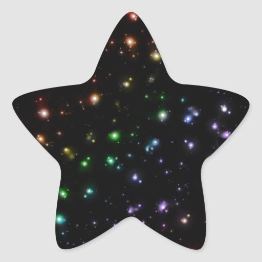 Glowing Shiny Rainbow Stars In Space Stickers
