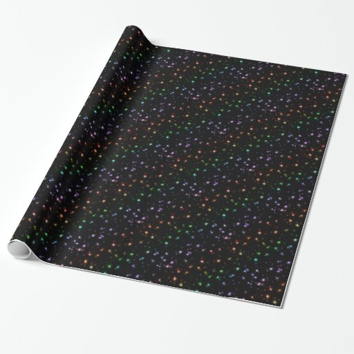 Glowing Shiny Rainbow Stars In Space Wrapping Paper