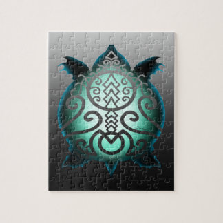 Glowing Silhouette Snapper Turtle Jigsaw Puzzle