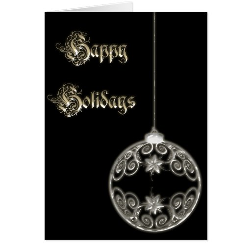 Glowing Silver Ornament Contemporary Christmas Card