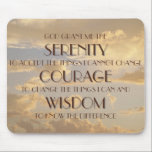 """Glowing Sky Serenity Prayer Mousepad<br><div class=""""desc"""">A glowing cloud filled sky is the backdrop for the  inspirational &quot;Serenity Prayer&quot;. &quot;God grant me the serenity to accept the things I cannot change,  Courage to change the things I can and Wisdom to know the difference.&quot;</div>"""