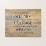 """Glowing Sky Serenity Prayer Puzzle<br><div class=""""desc"""">A glowing cloud filled sky is the backdrop for the  inspirational &quot;Serenity Prayer&quot;. &quot;God grant me the serenity to accept the things I cannot change,  Courage to change the things I can and Wisdom to know the difference.&quot;</div>"""