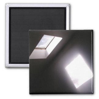 Glowing Skylight Window Minimalist Geometric Photo 2 Inch Square Magnet