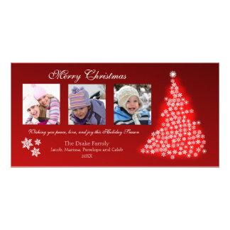 Glowing Snowflake Tree Photocard (red) Card