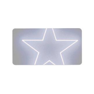 Glowing sparkle star label