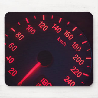 Glowing speedometer in red mouse pad