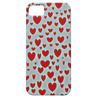 Glowing Sprinkled Red Hearts iPhone Case