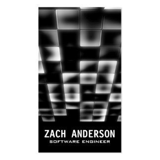 Glowing Square Mosaic - Black Business Card Templates
