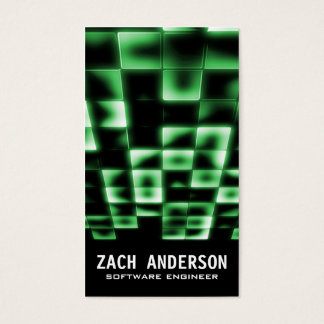 Glowing Square Mosaic - Green Business Card