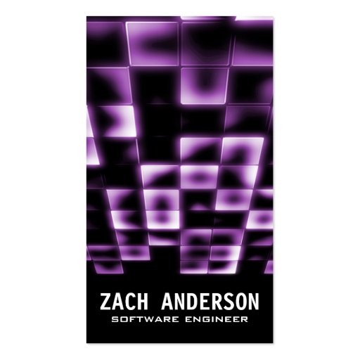 Glowing Square Mosaic - Purple Business Card Templates
