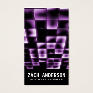 Glowing Square Mosaic - Purple Business Card