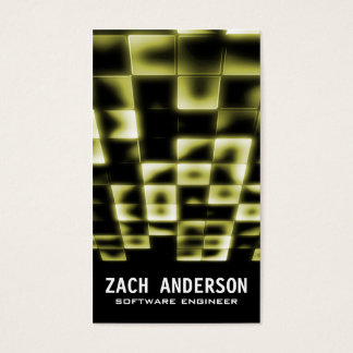 Glowing Square Mosaic - Yellow Business Card