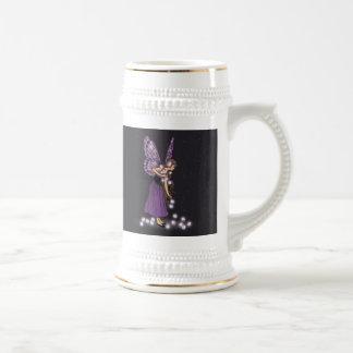 Glowing Star Flowers Pretty Purple Fairy Girl Beer Stein