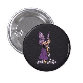 Glowing Star Flowers Pretty Purple Fairy Girl Button